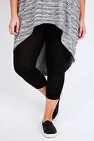 Yours Clothing Black Ruched Leg Viscose Elastane Cropped Leggings