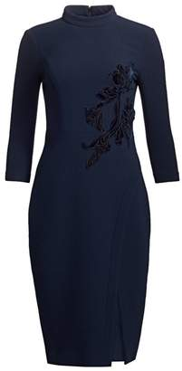 Teri Jon By Rickie Freeman Beaded Velvet Applique Wool Crepe Dress