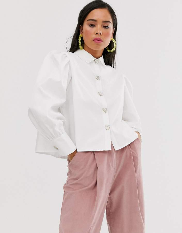 Sister Jane shirt with volume sleeves and faux pearl heart buttons-White