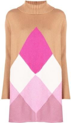 Semi-Couture Argyle Knit Roll Neck Dress