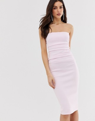 Asos Design DESIGN Ruched bandeau midi bodycon dress-Purple