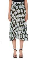 Off-White Women's Floral-Print Pleated Silk Chiffon Midi-Skirt