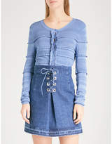 Sandro Scalloped-detail knitted cardigan