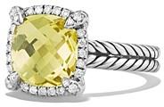 David Yurman Chatelaine Pave Bezel Ring with Lemon Citrine and Diamonds