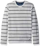 Nautica Men's Standard Long Sleeve Cotton Pique Crew Neck Shirt