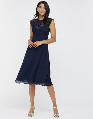 Monsoon Lolita Lace Midi Dress Blue