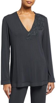 Maison Contouring Long-Sleeve Pajama Shirt