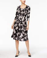 NY Collection Petite 3/4-Sleeve Midi Dress