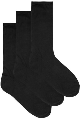 Raey Pack Of Three Roll-top Silk Socks - Black