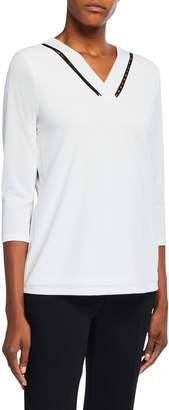 Calvin Klein Beaded 3/4 Sleeve Top