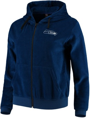 Women's College Navy Seattle Seahawks Velour Suit Full-Zip Hoodie