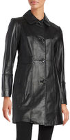 Gallery Button-Front Leather Coat