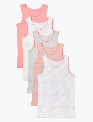 Marks and Spencer 5 Pack Pure Cotton Spotted Vests (2-16 Yrs)