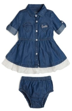 GUESS Girls Roll Long Sleeve Stretch Denim Dress
