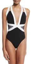 Jets Luxe Contrast-Band Halter One-Piece Swimsuit, Black/White