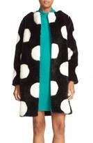 Kate Spade Women's Polka Dot Faux Fur Coat