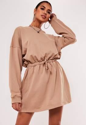 Missguided Camel Tie Waist Oversized Sweater Dress