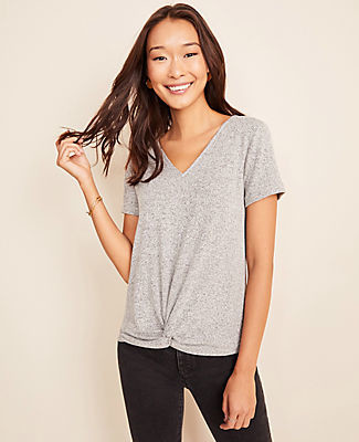 Ann Taylor V-Neck Twist Front Tee