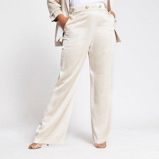 River Island Plus beige button front wide leg trousers