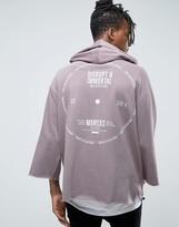 Asos Oversized Hoodie With 3/4 Sleeve & Back Print