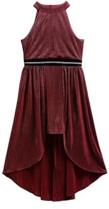 Youngland Girls Holiday Halter Glitter Walk Thru Dress, Sizes 7-16
