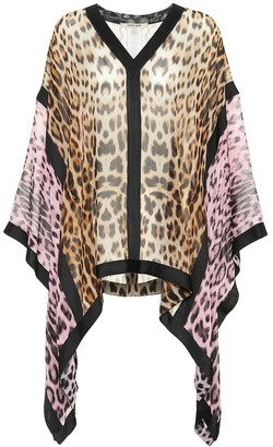 Roberto Cavalli Leopard-print silk blouse