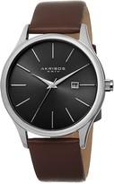 Akribos XXIV Men's Leather Strap Quartz Watch