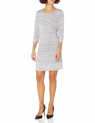 NY Collection Women's Petite Size 3/4 Sleeve Space Dye Dress with Side Buckle