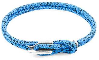 Camilla And Marc ANCHOR & CREW Unisex's Blue Noir Padstow Silver and Rope Bracelet of Length 21 cm