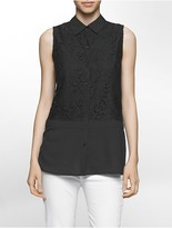 Calvin Klein Sleeveless Mosaic Lace Blouse