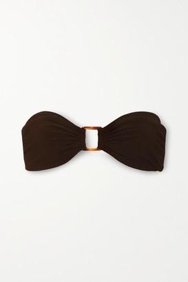 Anémone Embellished Bandeau Bikini Top - Dark brown
