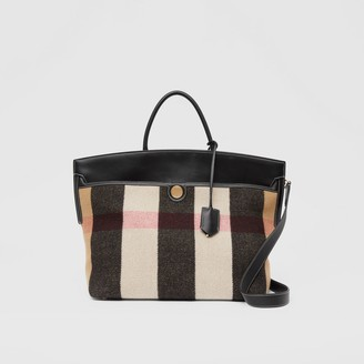 Burberry Check Merino Wool Cashmere Society Top Handle Bag