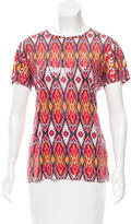 Tory Burch Abstract Print Sequined-Embellished Top