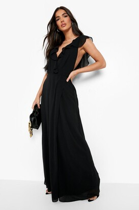 boohoo Frill Wrap Detail Chiffon Maxi Bridesmaid Dress
