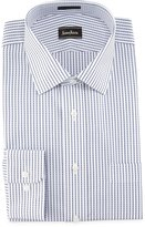 Neiman Marcus Classic-Fit Striped Dress Shirt, White/Blue