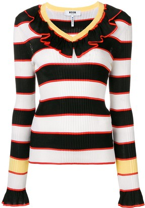 MSGM Striped Ruffle Trim Sweater