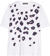 Markus Lupfer Alex Embellished Embroidered Cotton-jersey T-shirt - White