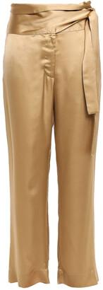 Forte Forte Belted Satin Wide-leg Pants