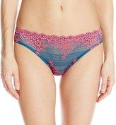 Wacoal Women's Embrace Lace Bikini Pant, Legion Blue/Lilac Rose