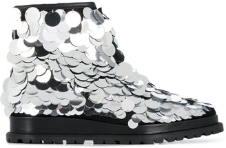 Sacai Metallic Disc Embellished Boots