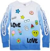 Flowers by Zoe Girls' Ombre Love Sweatshirt with Lattice-Cutout Sleeves