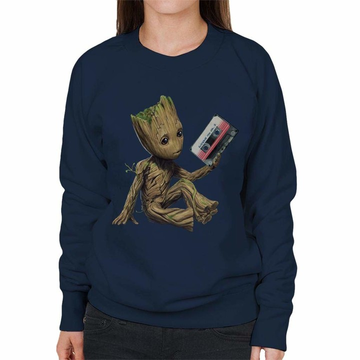 Thumbnail for your product : Marvel Guardians of The Galaxy Vol 2 Groot Holding Awesome Mix Women's Sweatshirt Navy Blue
