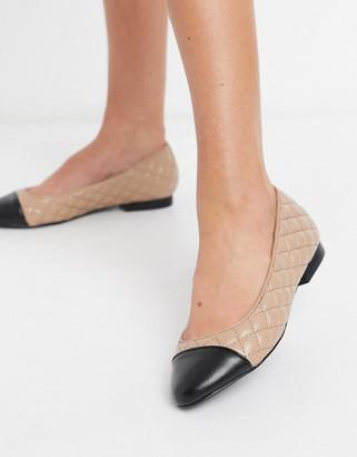 Steve Madden Fawna slip-on flat shoes in blush quilt