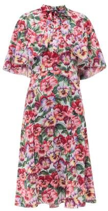 Dolce & Gabbana Violet-print Cape-shoulder Silk-blend Dress - Purple Print