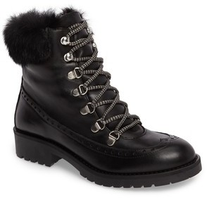 Charles David Women's Rugby Genuine Rabbit Fur Lace-Up Boot
