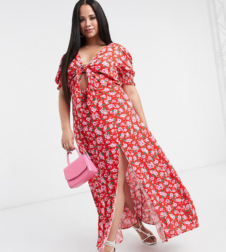 Dark Pink Plus thigh split maxi dress with puff sleeve in red rose print