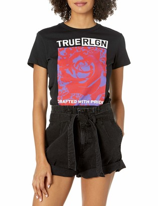 True Religion Women's Bloomed Slim fit Short Sleeve Crewneck Tee