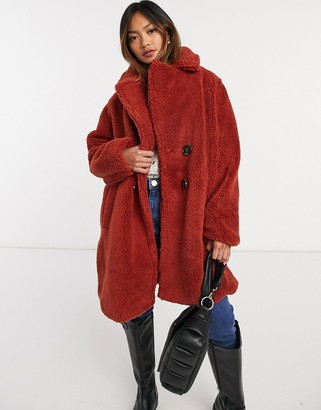 AX Paris oversized teddy coat in rust