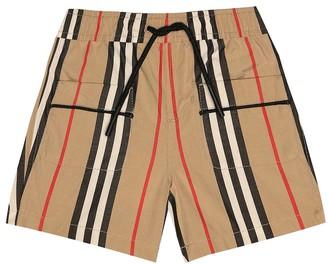BURBERRY KIDS Baby Icon Stripe cotton poplin shorts