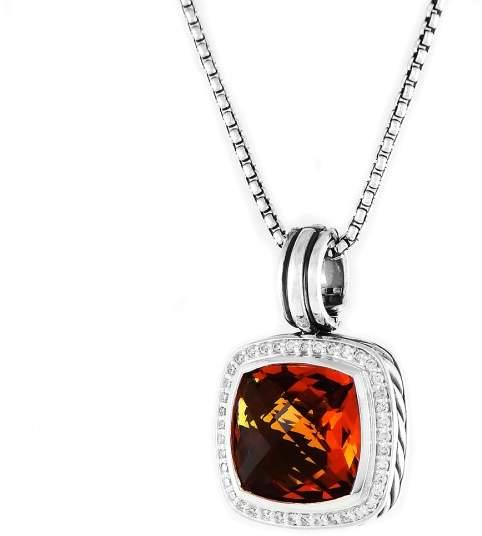 David Yurman Sterling Silver Citrine & 0.40ct Diamond Albion Pendant Necklace